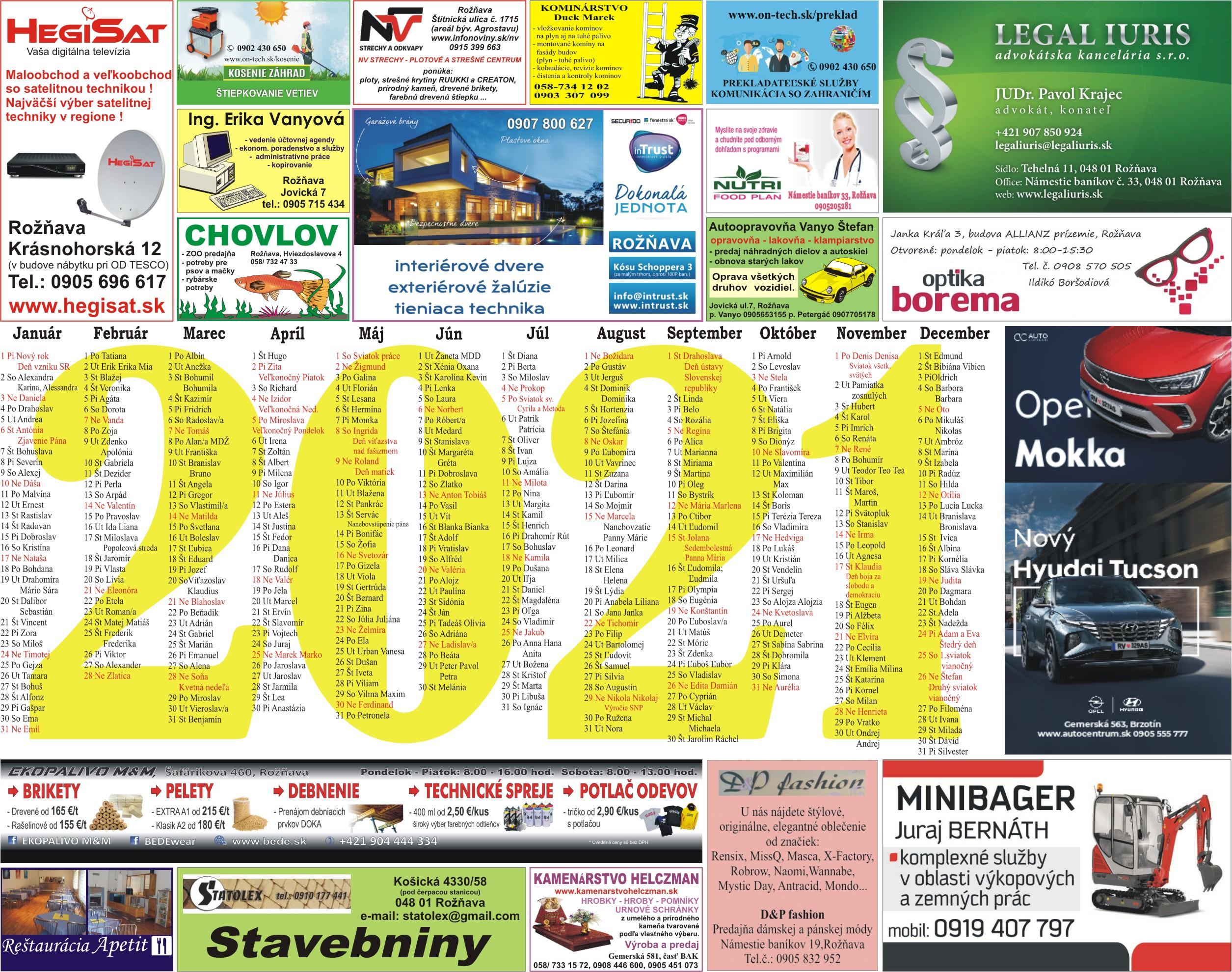 kalendár 2016